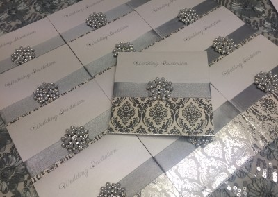 Silver Damask Invitation