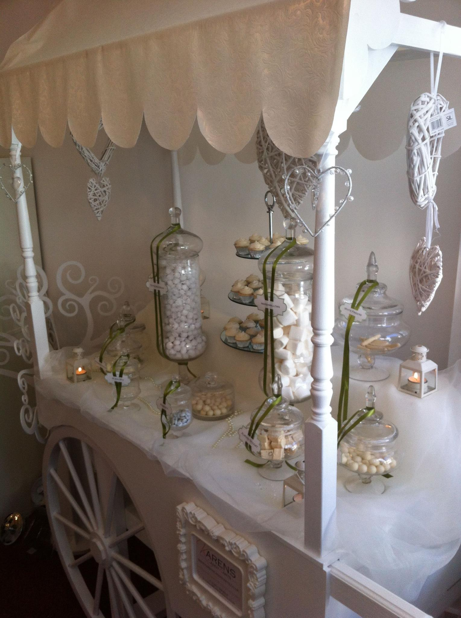 White Themed Candy Cart