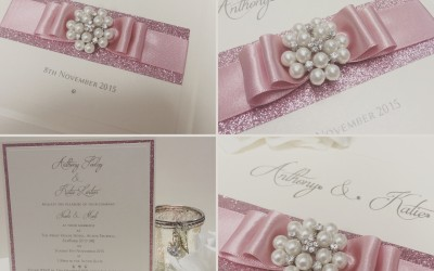 Dusky Pink Glitter Wedding Invitation