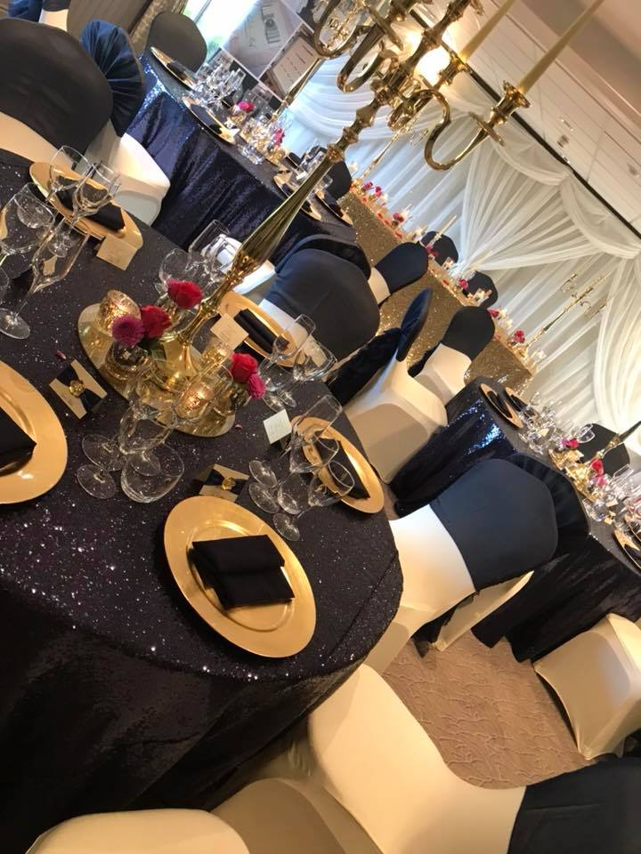 Navy Sequin table cloths